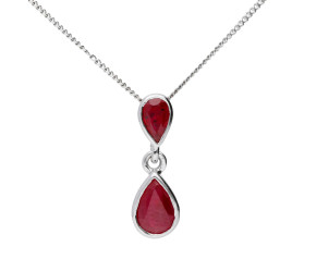 9ct White Gold Ruby Double Drop Pendant