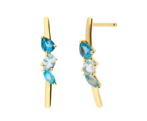 9ct Yellow Gold Topaz Bar Earrings