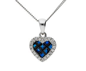 18ct Yellow Gold 0.35ct Sapphire & 0.10ct Diamond Fancy Heart Pendant