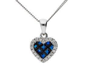 18ct Yellow Gold 0.35ct Sapphire & 0.10ct Diamond Fancy Heart Pendant