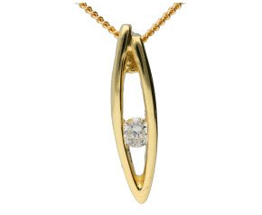 9ct Yellow Gold Diamond Leaf Pendant