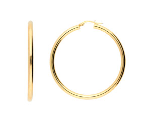 9ct Yellow Gold 45mm Tube Hoop Earrings