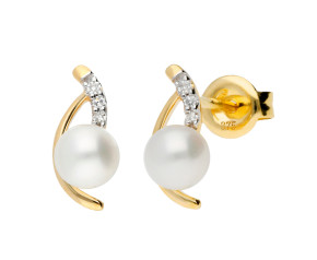 9ct Yellow Gold Diamond & Cultured Pearl Stud Earrings