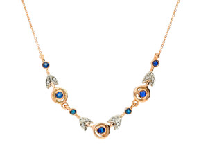 Handcrafted Italian 0.75ct Sapphire & 0.10ct Diamond Fancy Necklace