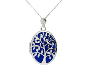 9ct White Gold Openwork Tree Locket