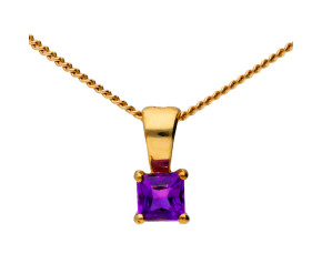 9ct Yellow Gold 0.10ct Amethyst Solitaire Pendant