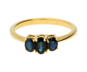 9ct Yellow Gold Sapphire Trilogy Ring