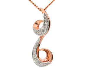 9ct Rose Gold Diamond Scrolling Pendant