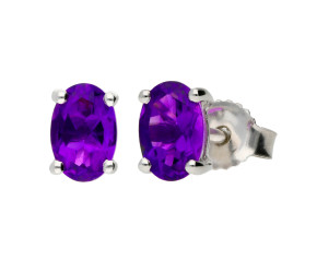 9ct White Gold 0.85ct Oval Amethyst Solitaire Stud Earrings