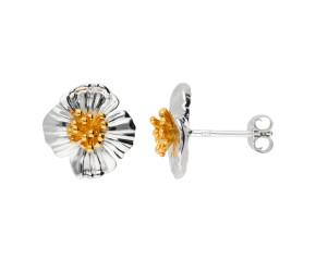 Silver & Yellow Gold Vermeil Poppy Flower Stud Earrings