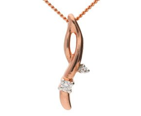 9ct Rose Gold Diamond Fancy Pendant
