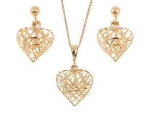 9ct Yellow Gold Heart Pendant & Earrings Set