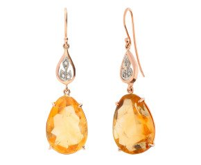 Handcrafted Italian 22ct Citrine & Diamond Drop Earrings
