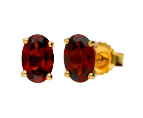 9ct Yellow Gold 0.60ct Oval Garnet Solitaire Stud Earrings