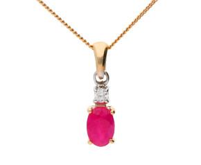 9ct Gold 0.55ct Ruby & Diamond Pendant