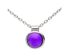 9ct White Gold Amethyst Solitaire Pendant