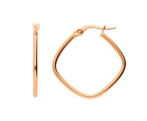 9ct Rose Gold 20mm Square Diagonal Hoop Earrings