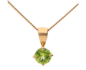 9ct Yellow Gold Round Peridot Solitaire Pendant