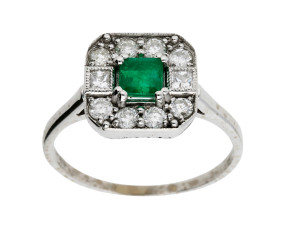 0.42ct Emerald & Diamond Ring