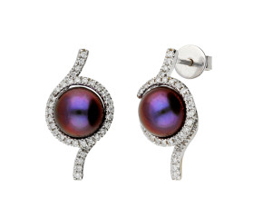 Pre-Owned 18ct White Gold Pearl & 0.30ct Diamond Earrings