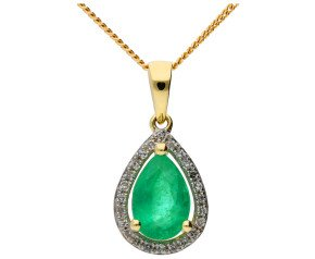 9ct Yellow Gold 0.70ct Emerald and Diamond Cluster Pendant
