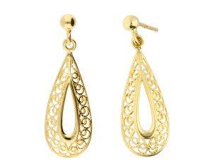 9ct Yellow Gold Filgree Drop Earrings