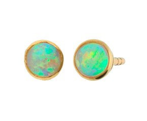 9ct Yellow Gold 0.30ct Round Opal Solitaire Stud Earrings