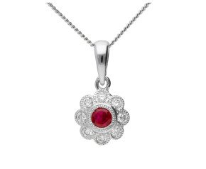 18ct White Gold 0.15ct Ruby & 0.10ct Diamond Cluster Pendant