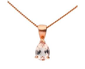 9ct Rose Gold 0.68ct Pear Morganite Solitaire Pendant