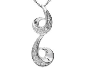 9ct White Gold Diamond Scrolling Pendant
