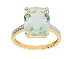 9ct Yellow Gold Green Amethyst & Diamond Dress Ring