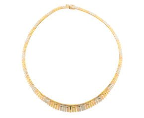 Pre-owned italian 18ct Yellow Rose & White Gold Collar Necklace