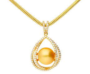 Sterling Silver & Yellow Gold Plated South Sea Pearl Orbital Necklace