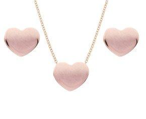 9ct Rose Gold Heart Pendant & Stud Earrings Set