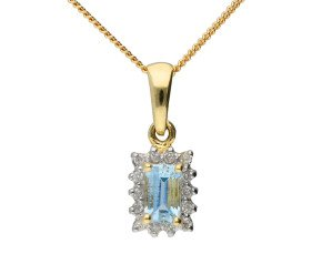9ct Yellow Gold 0.25ct Aquamarine & Diamond Cluster Pendant