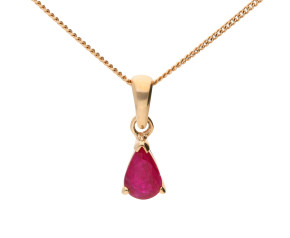 9ct Yellow Gold 0.50ct Pear Ruby Solitaire Pendant