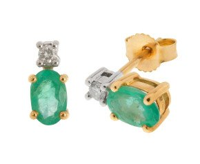 9ct Yellow Gold 0.80ct Emerald & Diamond Earrings