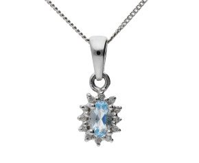 9ct White Gold 0.20ct Aquamarine & Diamond Cluster Pendant