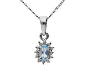 9ct White Gold 0.20ct Aquamarine & Diamond Cluster Pendant