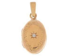 Vintage 9ct Gold Diamond Oval Locket
