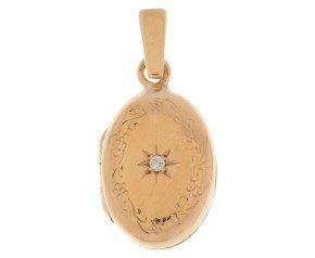 Vintage 9ct Gold Diamond Oval Locket