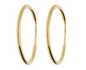 9ct Yellow Gold 30mm Fine Sleeper Hoop Earrings