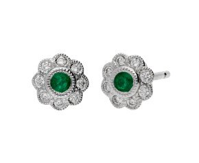 18ct White Gold 0.12ct Emerald & 0.15ct Diamond Cluster Stud Earrings