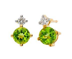 9ct Yellow Gold 0.50ct Peridot & 0.15ct Diamond Stud Earrings