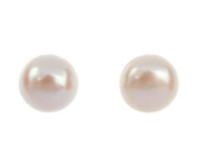 Silver 4mm Freshwater Button Pearl Earrings