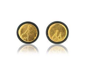 Sterling Silver Little Black & Gold Giraffe Earrings