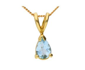 18ct Yellow Gold 0.35ct Pear Aquamarine Solitaire Pendant