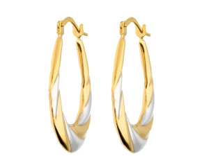 9ct Yellow & White Gold Hoop Earrings