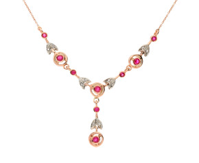 Handcrafted Italian 0.90ct Ruby & 0.12ct Diamond Fancy Necklace