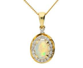 9ct Yellow Gold 0.75ct Opal & 0.10ct Diamond Cluster Pendant